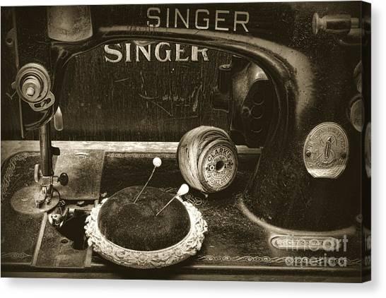 Pin Cushions Canvas Print - Singer Sewing Machine And A Victorian Pin Cushion by Paul Ward