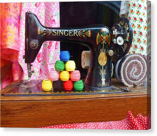 Singer Sowing Canvas Print
