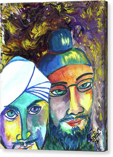 Sikh Art Canvas Print - Singhs And Kaurs-5 by Sarabjit Singh
