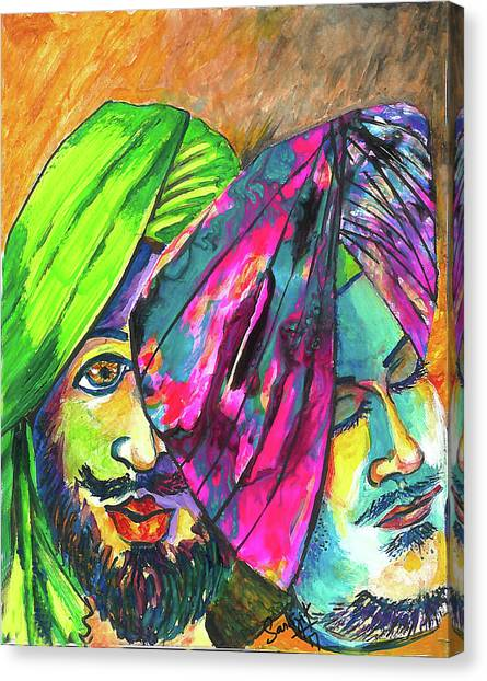 Sikh Art Canvas Print - Singhs And Kaurs-7 by Sarabjit Singh