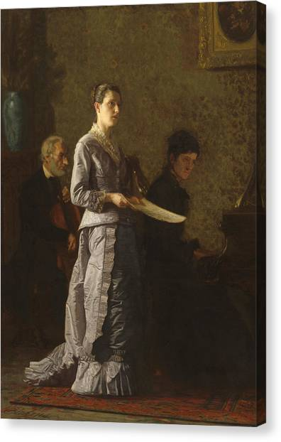 Cellists Canvas Print - Singing A Pathetic Song by Thomas Cowperthwait Eakins