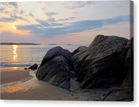 Singing Beach Rocky Sunrise Manchester By The Sea Ma Canvas Print