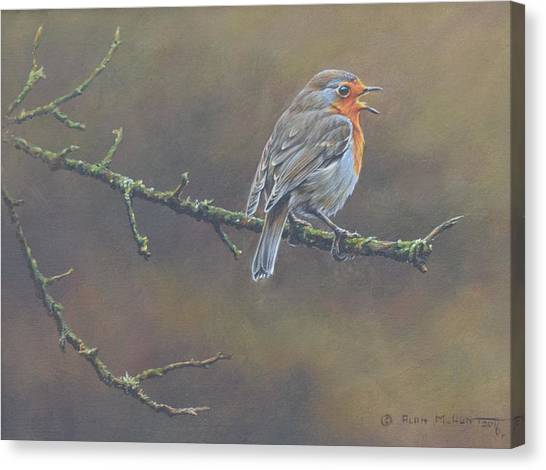 Canvas Print featuring the painting Singing Robin by Alan M Hunt