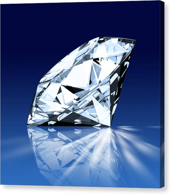 Glowing Canvas Print - Single Blue Diamond by Setsiri Silapasuwanchai