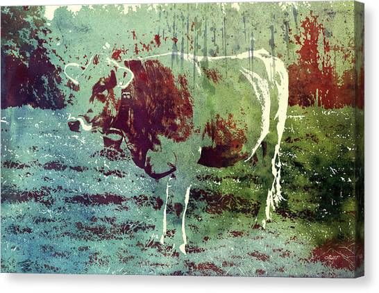 Creative Manipulation Canvas Print - Single Cow by Jutta Maria Pusl