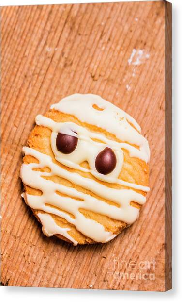 Biscuits Canvas Print - Single Homemade Mummy Cookie For Halloween by Jorgo Photography - Wall Art Gallery
