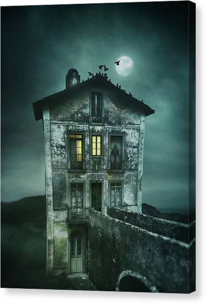 Old Houses Canvas Print - Sinister Old House by Carlos Caetano