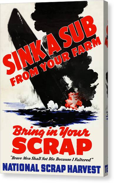 Submarine Canvas Print - Sink A Sub From Your Farm by War Is Hell Store