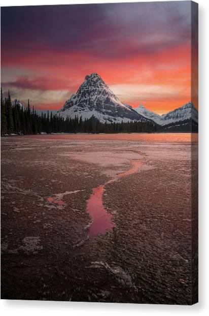 Canvas Print featuring the photograph Sinopah Mountain Sundown // Two Medicine Lake, Glacier National Park  by Nicholas Parker