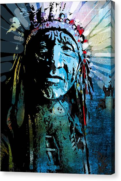 Indians Canvas Print - Sioux Chief by Paul Sachtleben