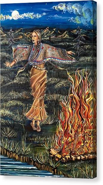 Sioux Woman Dancing Canvas Print