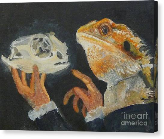 Sir Bearded-dragon As Hamlet Canvas Print