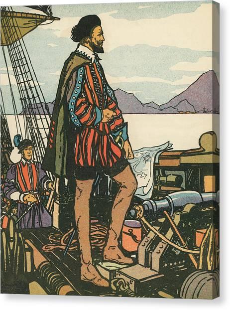 Drake Canvas Print - Sir Francis Drake On His Ship by American School