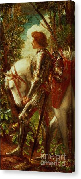 Knights Canvas Print - Sir Galahad by George Frederic Watts