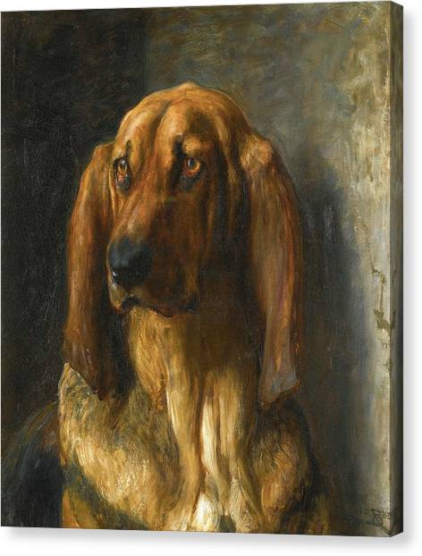 THE TIRED /& LOYAL BLOODHOUND PET DOG ART PAINTING PRINT ON REAL CANVAS