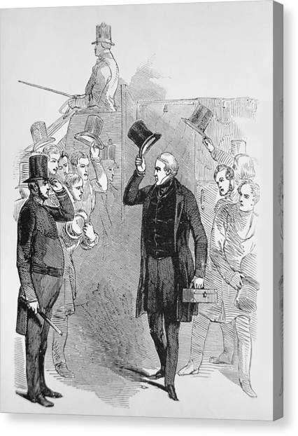 Peel Canvas Print - Sir Robert Peel Arriving At The House Of Commons by English School