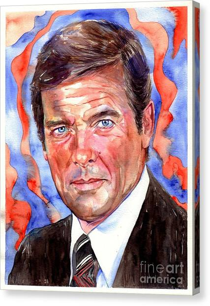 Roger Canvas Print - Sir Roger Moore by Suzann's Art