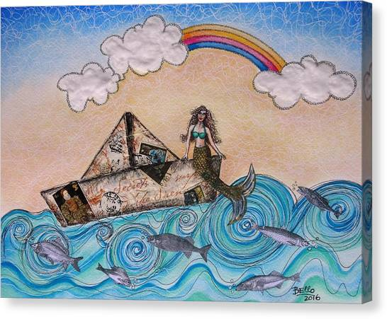 Siren On A Paper Boat Canvas Print