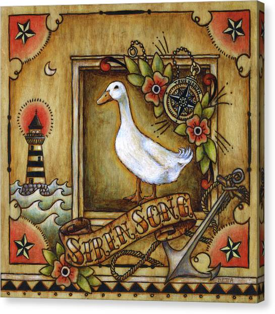 Canvas Print featuring the painting Siren Song Aka Ducking In For A Tattoo by Retta Stephenson