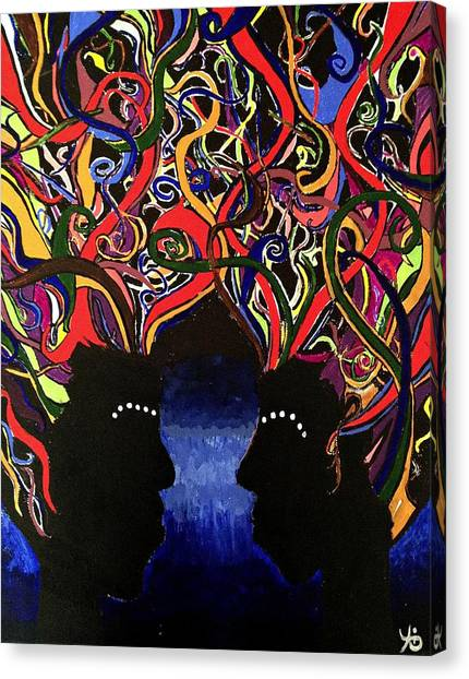 Sis The Twins - Abstract Silhouette Painting - Sisterhood - Abstract Painting  Canvas Print