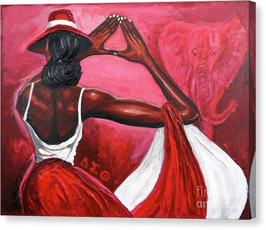 Delta Sigma Theta Canvas Print - Red Ellegance by The Art of DionJa'Y