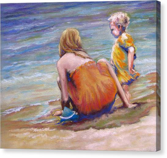 Sisters Enjoy The Shore Canvas Print by Carole Haslock