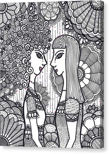 Sisters - Ink Canvas Print