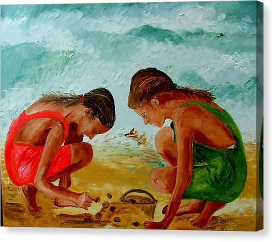 Sisters On The Beach Canvas Print by Inna Montano