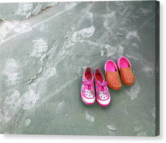 Canvas Print featuring the photograph Sisters Playing Barefoot In The Sand by Rick Locke