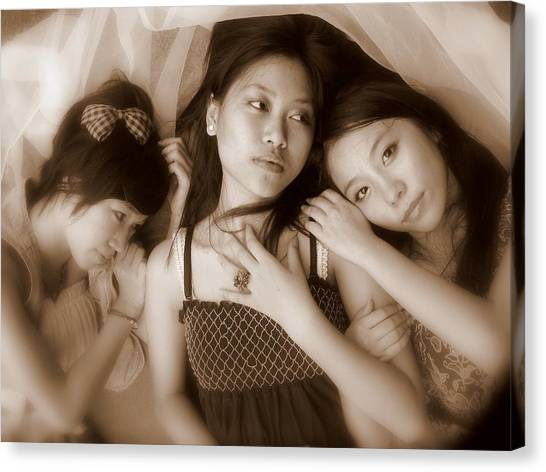 Sisters Repose 2 Canvas Print by Annie