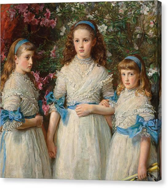 Victorian Garden Canvas Print - Sisters by Sir John Everett Millais