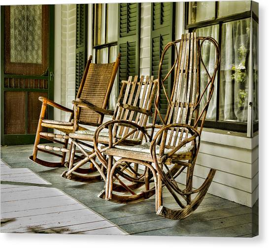 Rocking Chairs Canvas Print - Sit A Spell by Stephen Stookey