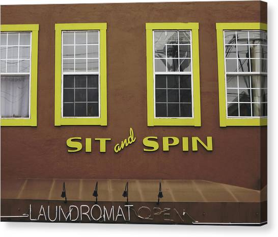 Spin Canvas Print - Sit And Spin Laundromat Color- By Linda Woods by Linda Woods