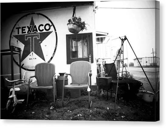 Sitting At The Texaco Black And White Canvas Print