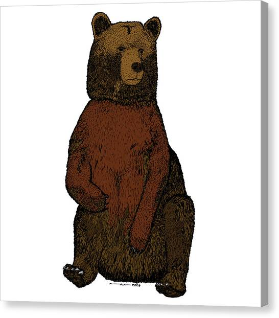 Sitting Bear - Full Color Canvas Print by Karl Addison