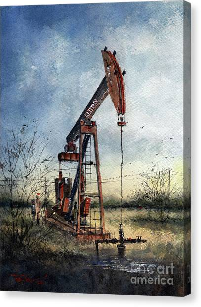 Sitton Pumpjack Canvas Print
