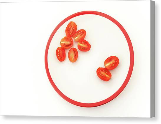 Rainbow Six Canvas Print - Six And Two Halves Of Red Cherry Tomatoes by Jenny Rainbow