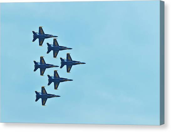 Six Blue Angels In The Clear Blue Sky Canvas Print