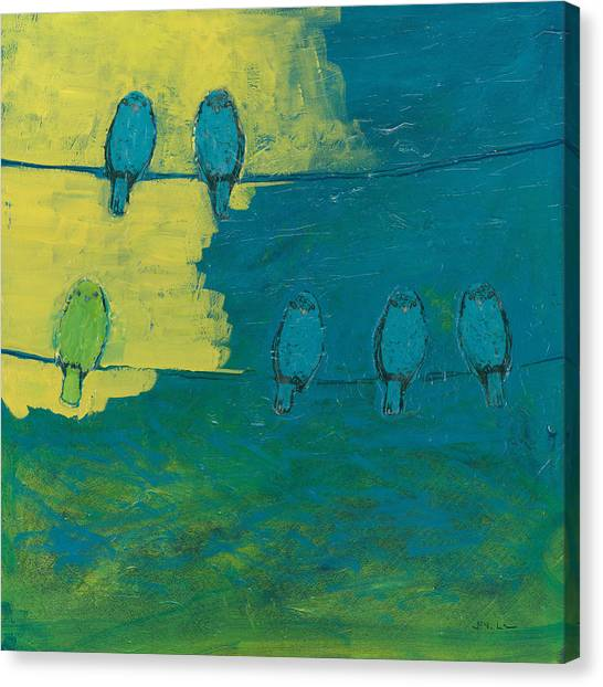 Canaries Canvas Print - Six In Waiting Break Of Day by Jennifer Lommers