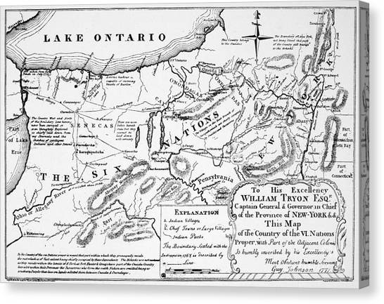 Oneida Canvas Print - Six Nations Map 1771 by Granger