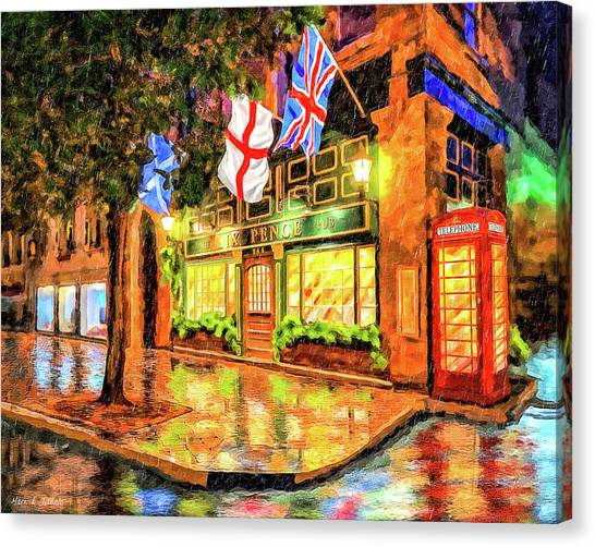 Canvas Print featuring the mixed media Six Pence Pub - Savannah In The Rain by Mark Tisdale