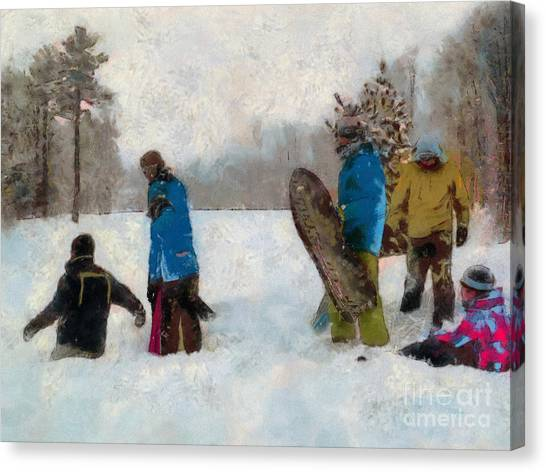 Six Sledders In The Snow Canvas Print