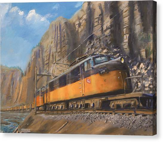 Freight Trains Canvas Print - Sixteen Mile Canyon by Christopher Jenkins
