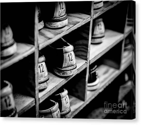 Bowling Shoes Canvas Print - Size 12 by DeWayne Beard