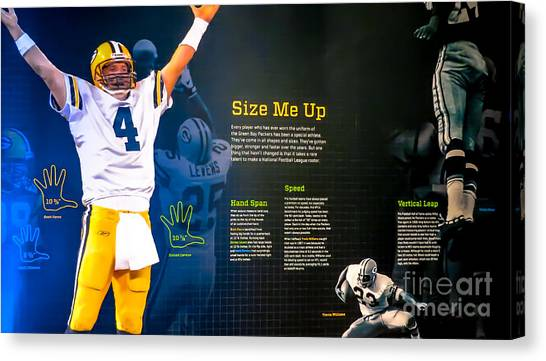 Brett Favre Canvas Print - Green Bay Packers Size Me Up Hand Span Speed And Vertical Leap by Stephanie Forrer-Harbridge