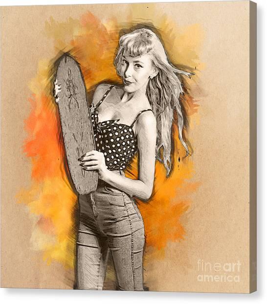 Skateboarding Canvas Print - Skateboard Pin-up Illustration by Jorgo Photography - Wall Art Gallery