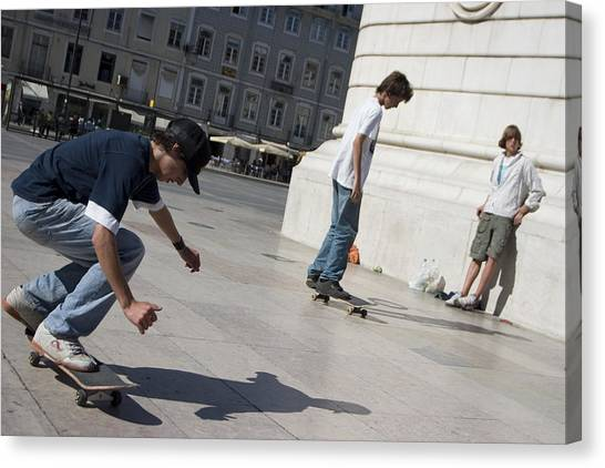 Canvas Print - Skateboarder In Lisbon by Carl Purcell