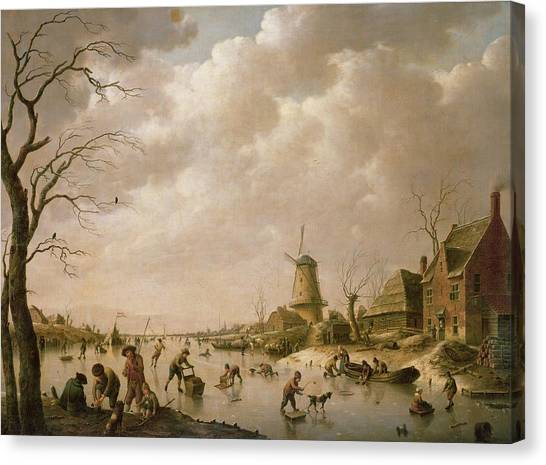 Mills Canvas Print - Skaters On A Frozen Canal by Hendrik Willem Schweickardt