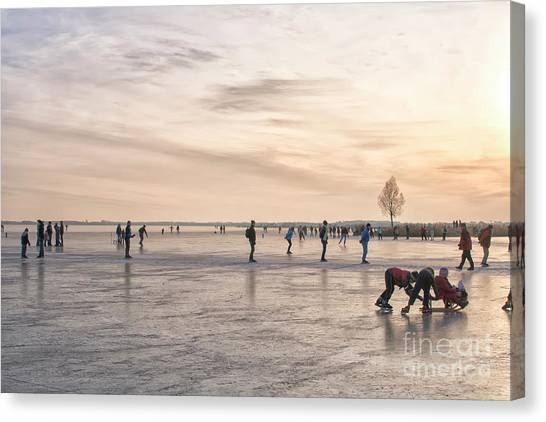 Speed Skating Canvas Print - Skating At Sunset by Patricia Hofmeester