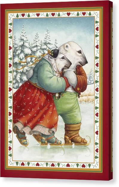 Skating Bears Canvas Print